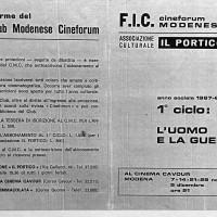 Programma del Cineforum del Portico, 1967-1968, Archivio Istituto storico di Modena