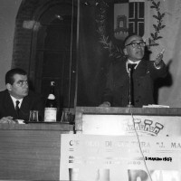 3.3.1967, Antonio Zavoli e Giorgio La Pira intervengono presso la sala dell'Arengo, Archivio ISRIC Rimini