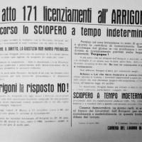 Volantino della Camera del Lavoro di Cesena contro i 171 licenziamenti all'Arrigoni, 1966