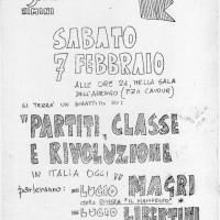 7.2.1968, Locandina del dibattito con Lucio Magri e Lucio Liberini \