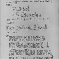 15.12.1967: Locandina della conferenza dell'avvocato Antonio Zavoli \