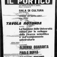 Volantino in occasione di una tavola rotonda organizzata dal Portico, 1967, Archivio Istituto storico di Modena