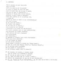 """Archivio privato Arvedi-Binelli, b. teatro, """"Gli struzzi di Dio. Da pompiere ad incendiario attraverso un gruppo cristiano"""", s.a., s.d. [ma gennaio 1972], pg. 1 Pagina iniziale del musical """"Gli struzzi di Dio"""""""