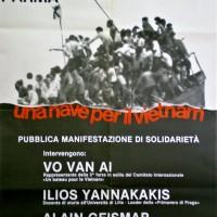 """Manifesto per l'iniziativa """"Una nave per il Vietnam"""". Parma, primi anni settanta. Archivio Centro studi movimenti."""