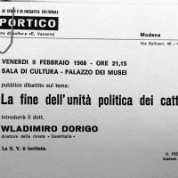 Volantino in occasione di una conferenza organizzata dal Portico, 1968, Archivio Istituto storico di Modena