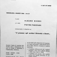 Volantino in occasione di una conferenza al Circolo Formiggini, 1966, Archivio Istituto storico di Modena