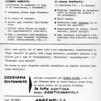 Volantino per assemblea studentesca presso la Sala della cultura, 27 novembre 1968, Archivio Istituto storico di Modena