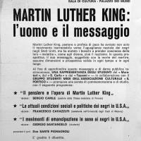 Volantino per manifestazione in onore di Martin Luther King, 10 aprile 1968, Archivio Istituto storico di Modena