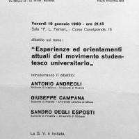 Volantino in occasione di un dibattito organizzato dal Portico, 1968, Archivio Istituto storico di Modena