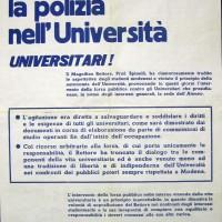 Volantino del Movimento studentesco, sd., Archivio Istituto storico di Modena