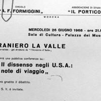 Volantino in occasione di una conferenza organizzata dal Circolo Formiggini, 1968, Archivio Istituto storico di Modena