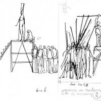 Disegni di Dario Fo, strutture sceniche per lo spettacolo Grande Pantomima con bandiere (Archivio Franca Rame)