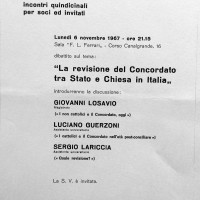 Volantino in occasione di un dibattito organizzato dal Portico, 1967, Archivio Istituto storico di Modena